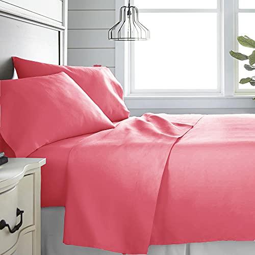 Monkey House | Set completo letto tinta unita, Made in Italy, 100% cotone – singolo, matrimoniale, una piazza e mezza (Corallo, Matrimoniale)