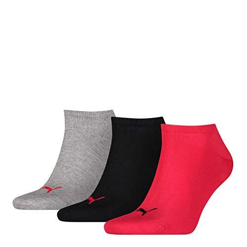 Puma Invisible - Chaussettes - Lot de 3 - Homme - Noir/Rouge/Gris - FR: 39-40 (Taille fabricant: 39/42)