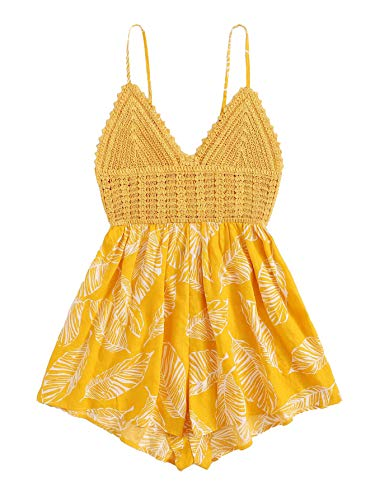 SheIn Women's Boho Crochet V Neck Halter Backless Floral Lace Romper Jumpsuit Small Floral Yellow#2