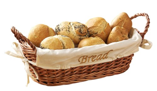 Premier Housewares Wicker Bread Basket with Cream Fabric Lining - 12 X 28 X 15 cm, Natural