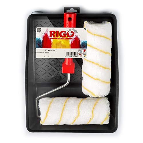 RIGO Rodillos Pintura Antigoteo 2 Recambios de 18cm Reutilizables y Bandeja - Perfecto para Pintar Paredes y Techos