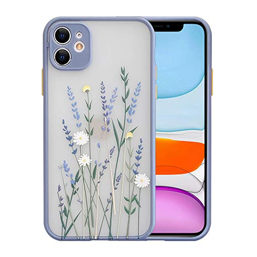 Ownest Compatible with iPhone 11 Case for Clear Flowers Pattern Frosted PC Back 3D Floral Girls...
