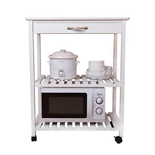 Hogar Almacenamiento de equipos Estante de cocina Horno de microondas de madera maciza Estante de almacenamiento en el piso Estante del horno Suministros de cocina Estante de ollas Carro de almacen