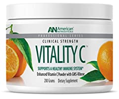 Vitality C is a pleasant tasting, non-acidic, potent vitamin C powder enhanced with a GMS Ribose Complex Contains 4 grams of Vitamin C per tsp. that can be taken without stomach upset, gas or diarrhea Enhanced absorption using four unique uptake path...