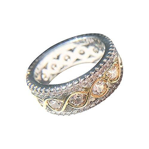 Anillo de boda de diamantes vintage de oro rosa de eternidad completa de compromiso antiguo anillo apilable de cristal a juego de la banda de arte retro