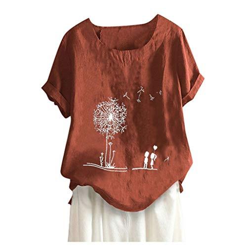 VEMOW Camiseta Mujer Casual Talla Extra Manga Corta Elegante Algodón Lino Cuello Redondo Impresión Blusa Parte Superior Tops Shirts tee Verano OtoñO(H Rojo,XL)