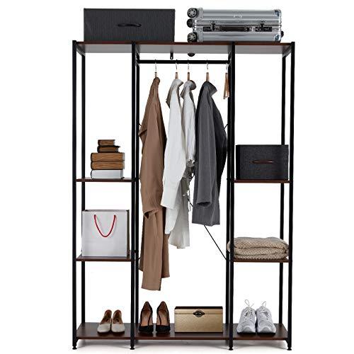 AVAWING Garment Rack Freestanding Heavy Duty Closet Organizer Wardrobe Wood Clothing Shelves w Hanging Rod Extra Large Armoire Storage Metal Clothing Rack Max Load 330LBS