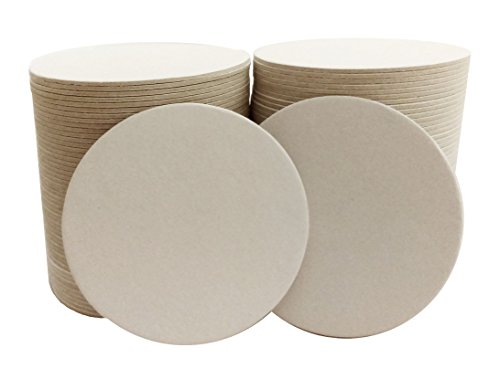 Inkfish and Co 100 Pack 35 Inch Round Blank Coasters Off White Color Heavyweight Cardboard Pulp Board Paper Made in USA Perfect For All Drinks DIY Craft Projects Printing Mini Art Zen Boards