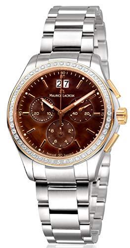 Maurice Lacroix Miros Damen-Armbanduhr Chronograph Analog Quarz mit Edelstahlband MI1057-PVP22-760-1