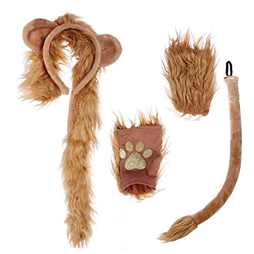 Disfraz de Halloween Len Orejas de Felpa Diadema Kit de Cola y Patas Disfraz de len sin Dedos para Adultos y nios Accesorios de Fiesta de Disfraces de Animales