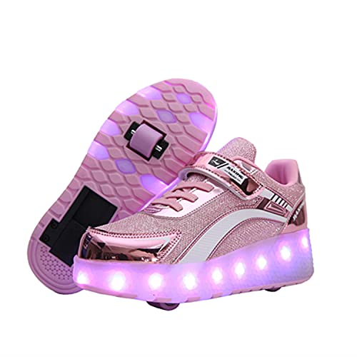 Zapatillas con Ruedas Niña Niño Zapatos con Ruedas y Luces LED Luminosas Flash Rueda Patines Deportivo al Aire Libre Gimnasia Running Niños Zapatos de Skateboard con USB Carga