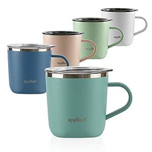 eppikan® EppiLungo Taza termo de acero inoxidable, taza aislada, taza de café, taza de té, taza térmica, 220 ml, 280 ml tapa con abertura para verter (Powder Green, 220 ml)