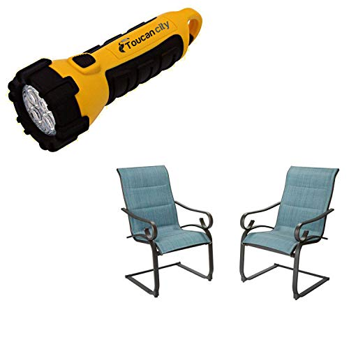 Toucan City LED Flashlight and Hampton Bay Crestridge Steel Padded Sling C-Spring Outdoor Patio Dining Chair in Conley Denim (2-Pack) FCS60610R-2PK-B