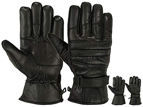 Mens Warm Winter Dress GLOVE Genuine Leather Motorcycle Gloves, Black (Medium)