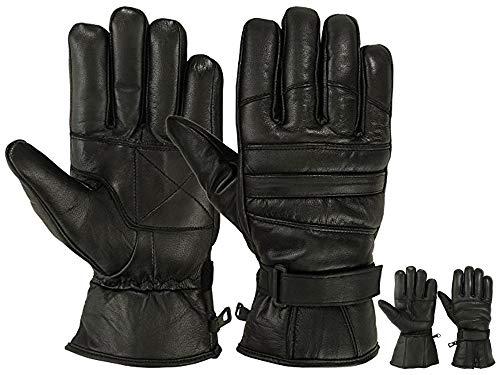 Mens Warm Winter Dress GLOVE Genuine Leather Motorcycle Gloves, Black(Medium)
