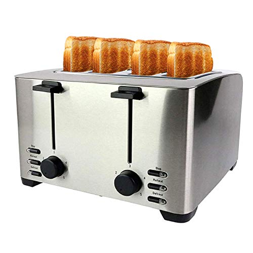 Stainless Steel 4 Slice Toaster - Wide Slots for Bagels & Croissants - Modern and Elegant Design with LED Indicator Lights Professional Quality