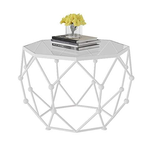 Carl Artbay Home&Selected meubels/Octagon Gehard Glas Koffie Tafel, Woonkamer Bijzettafel, Balkon Lounge Tafel, Snack Tafel, Wit Metalen Basis en helder Glas Top,25.9'' ;17.7''