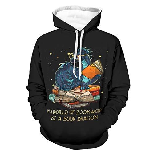 Sudadera con capucha de manga larga con bolsillos para hombre, con diseño de dragón, con texto en inglés 'In A World of Bookworms Be A Book Dragon Print' Blanco2 XXXL