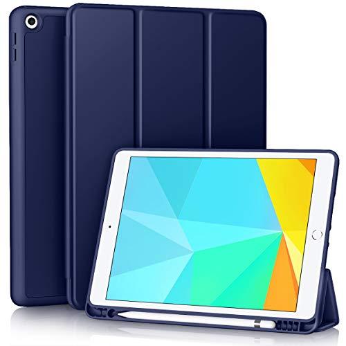 Vobafe Hülle Kompatibel mit iPad 8. Generation (2020)/7. Gen (2019), Weiche TPU Rückseite Abdeckung Klappständer Schutzhülle mit Stifthalter für iPad 10.2