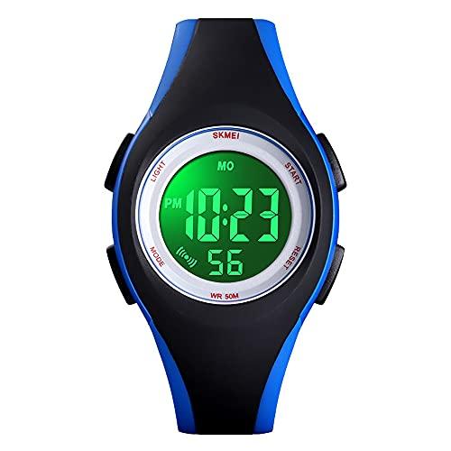 YHD Reloj para NiñOs, Reloj Impermeable para Exteriores Regalo Educativo AnalóGico Multifuncional para NiñOs Y NiñAs Negro Y Azul
