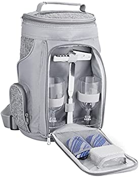 BRUBAKER Sac Isotherme pour 2 Bouteilles de Vin et de Champagne Jusqu'à 1,5 l, Sac Isotherme Rembourré - Sac Pique-Nique Isolé, Sac Thermique