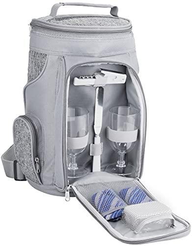 BRUBAKER Kühltasche für 2 Flaschen Wein und Champagner bis 1,5 l, gepolsterte Weinkühltasche - Picknicktasche isoliert, Thermotasche - tragbar mit Henkel in Grau