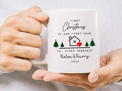 Taza Personalizada First Home Taza de Navidad Taza Personalizada New Home Taza de cerámica para el...