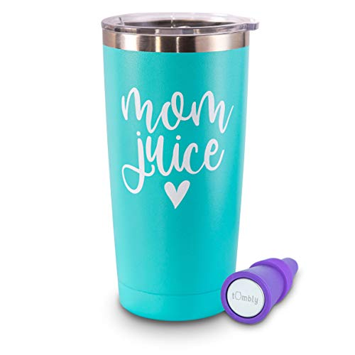 Mom Juice Tumbler – 20 oz Insulated Stainless Steel Mom Tumbler – Mom Tumbler, Mom Gifts, Gifts for Mom, Gifts for Mom from Daughter, Son, Husband, Best Mom Gifts, Mom Cup - Includes Wine Stopper