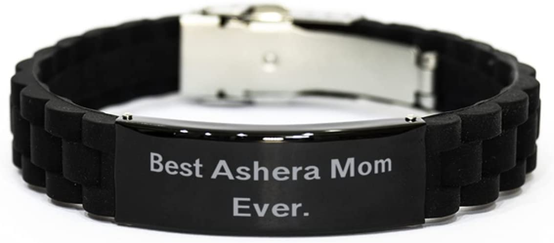 Sarcasm Ashera Cat Gifts, Best Ashera Mom Ever, Beautiful Holiday Black Glidelock Clasp Bracelet Gifts for Cat Lovers