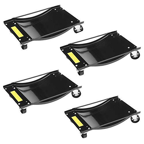 Blackpoolal 4 Stück Rangierhilfe für PKW Auto Rangierroller Rangierheber Wagenheber Roller Transportschale bis 1000LBS 450KG