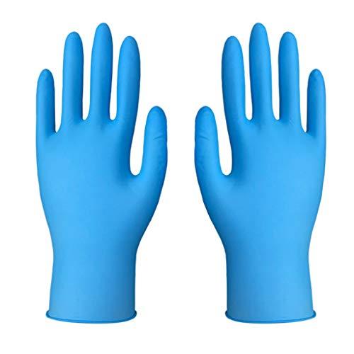 WFRAU 50 Paar Einweghandschuhe verdicken Nitril Kautschuk Latexfreie Handschuhe Bequeme industrielle puderfreie Gummihandschuhe zum Kochen, Reinigen der staatlichen Größe S-XL