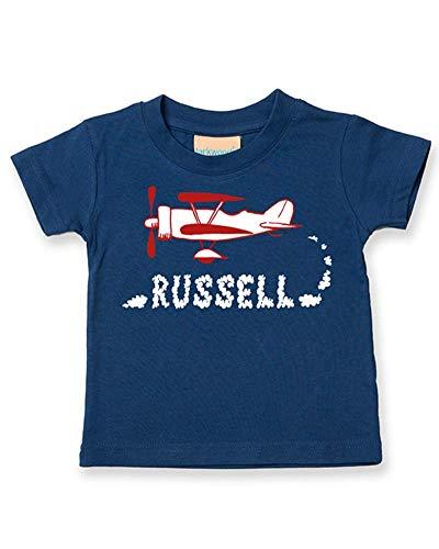 Ice-Tees T-shirt personnalisé pour bébé/enfant Motif Old Biplane - Bleu - 24 mois