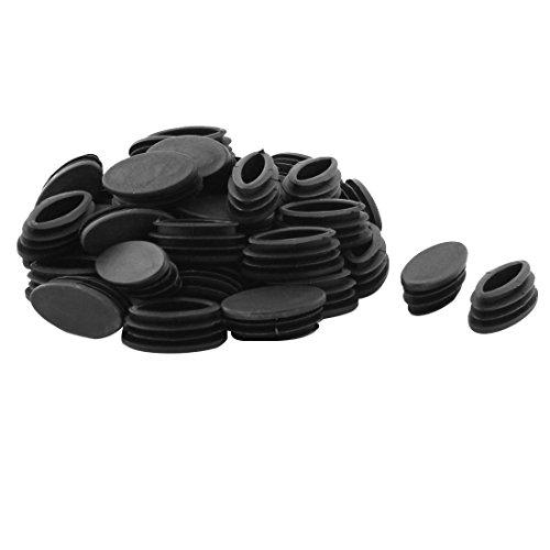 Sourcingmap 40pcs Bouchon Pied de Chasie Table Meuble Embout Bouchou Tuyau Insert Tube Capuchon Ovale en Plastique Noir 20 x 40mm