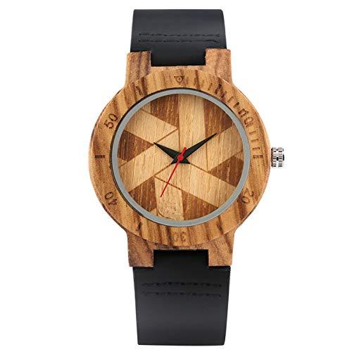 Molino de Viento único Dial Redondo Relojes de Madera Reloj de Pulsera de Cuero de Cuarzo Casual Hombres Mujeres Reloj de Madera Regalos para Dama