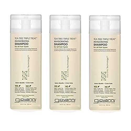 Giovanni Invigorating Shampoo, Tea Tree Triple Treat, 8.5-Ounce Bottles (Pack of 3)