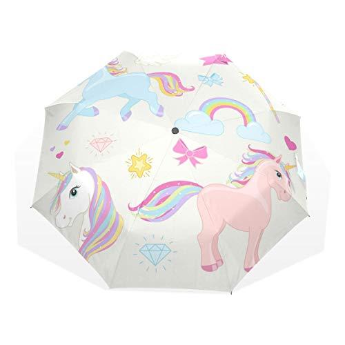 ISAOA Paraguas de Viaje automático, Paraguas Plegable con Unicornio para Correr, Resistente al Viento, Ultra Ligero, protección UV, Mango Compacto para fácil Transporte para Mujeres y Hombres