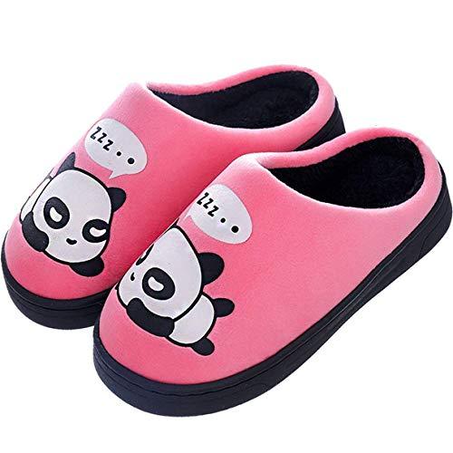 Nest Home Damen Herren Warme Hausschuhe Winter Mädchen Jungen Niedliche Cartoon Panda Baumwolle Pantoffel Indoor Haus Slippers (33/34 EU, Pink)