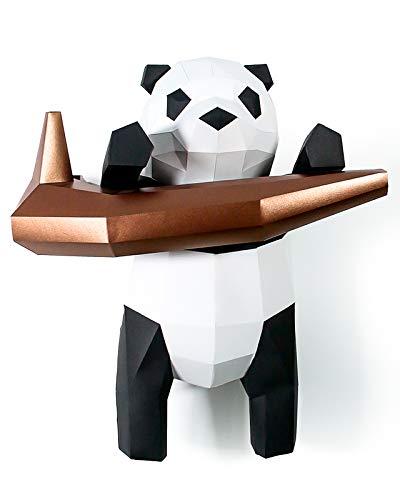 Kit DIY Pandabär am Ast Papercraft Kit Wandtrophäe Pappe 3D Origami Skulptur 3D Puzzle 3D Kinderdeko VORGESCHNITTEN