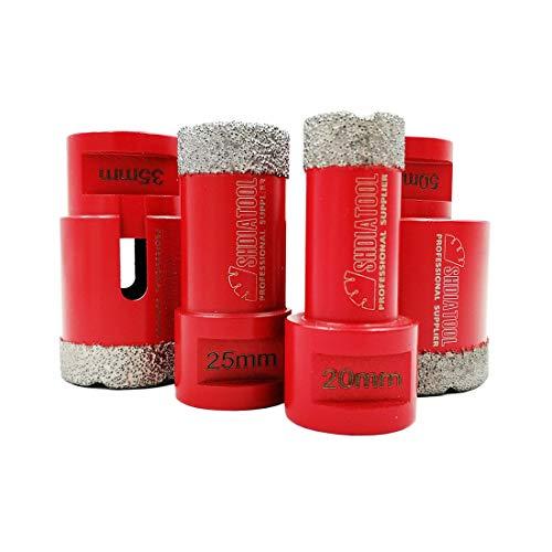 SHDIATOOL Dry Diamond Drill Core Bits 4pcs/Set Dia 20/25/35/50mm Vacuum Brazed M14 Connection for Tile Porcelain Granite Marble