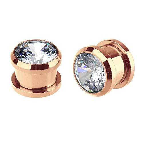 Briana Williams 1 Par Expansores de Oreja Dilatación del Túnel Oro Rosa Enchufe Acero Inoxidable con Diamante CZ Tornilo Piercing Joyería(3-12mm)