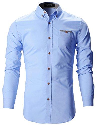FLATSEVEN -  Camicia da Cerimonia - Uomo SH131 Light Blue Medium