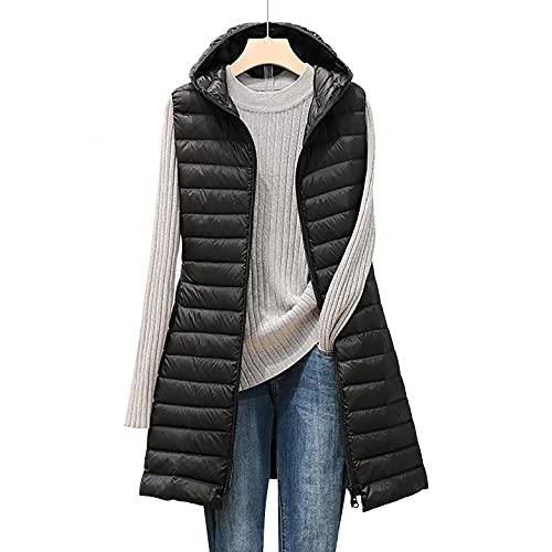 CCOOfhhc Piumino lungo da donna, senza maniche, con cappuccio, taglia grande, invernale, leggero, con tasche, giacca trapuntata, antivento, giacca trapuntata, T nero., M