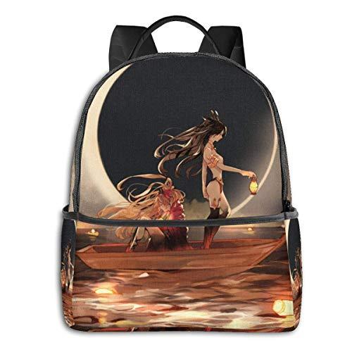 Hdadwy Anime Girl Night Ship Mochila Unisexs Student Bag Mochilas Ligeras clásicas con Cremallera 14.5 X 12x 5 In