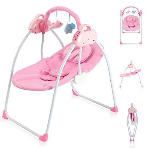 Babywippe Elektrisch Babyschaukel mit 3 Schaukeln Geschwindigkeiten Wippe Baby Lautstärkeregelung und Abnehmbarem Spielzeugbügel Schaukelwippe Rosa