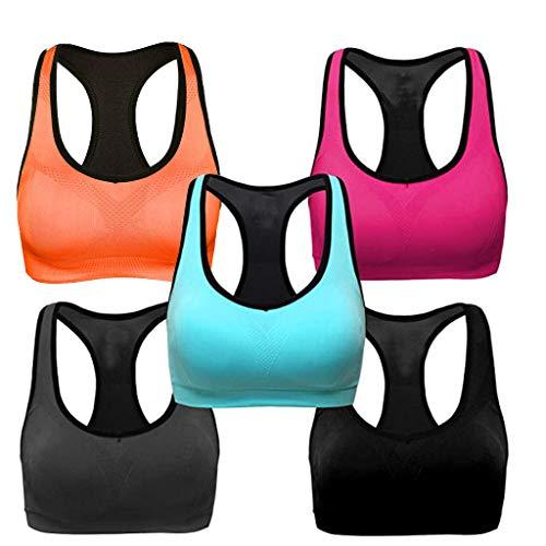 Sports Bras for Women,3/5PC Women Sports Bras High Workout Activewear Bra Wireless Bra (Multicolor-5PC, XL)
