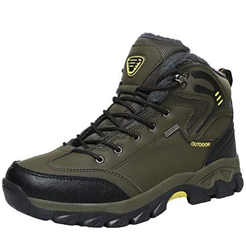 Stivali da Neve Uomo Inverno Pelliccia Caloroso Trekking Outdoor Sportive Boots Escursionismo Scarpe Antiscivolo Verde dell'Esercito 42