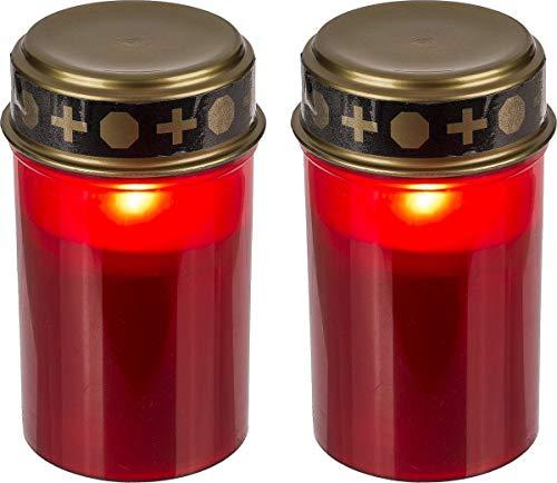 Grablicht mit LED Kerzenschein Grablichter Grableuchten Grabkerze Kerze Rot (2)