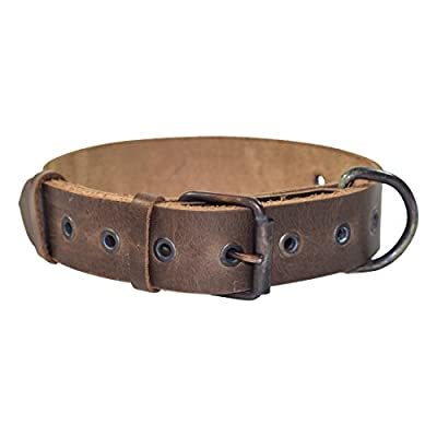 Hide & Drink, Rustic Thick Leather Dog Collar for Medium Size Dog (12 to 21 Inches) Handmade :: Bourbon Brown