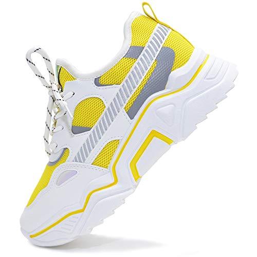 Vain Secrets Damen Sneaker Laufschuhe Sportschuhe Freizeit Schuhe 90er Style in 5 Farben (Gelb, Numeric_39)