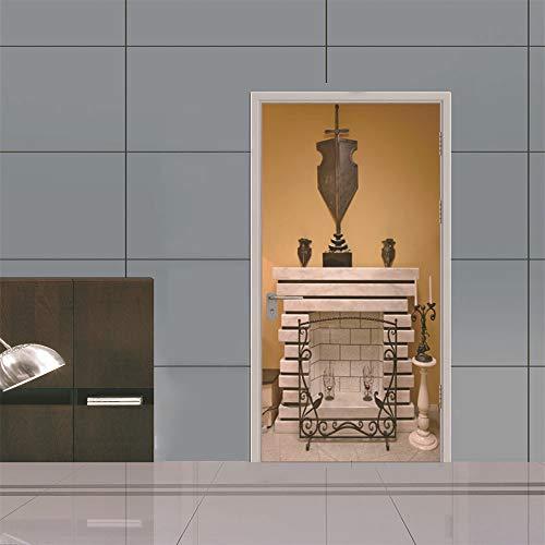 TXFMT deur behang open haard idee - 3D deur Sticker DIY deur muurschildering zelfklevende deur poster woonkamer slaapkamer kinderkamer badkamer keuken Vinyl folie deur kunst decoratie 88x200cm